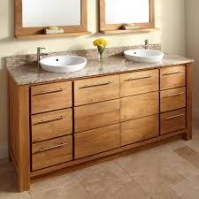 wood bathroom cabinet and double granite vanity tops with vessel