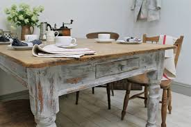 Large M Distressed Limed Elm Dining Table White Washed Kitchen - Distressed kitchen tables