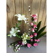 Roses And Lilies Pink Roses Lilies And Orchids Arrangement