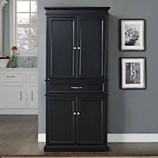 furniture black stained oak wood short narrow pantry cabinet with