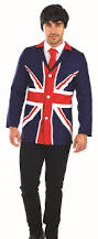 British Flag Shirts 60s Mod Jacket Mens Fancy Dress British Flag Union Jack