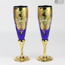bicchieri vetro set di 2 bicchieri tre fuochi flute you me vetro di murano