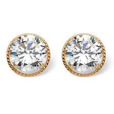 cubic zirconia stud earrings 4 tcw martini set cubic zirconia stud earrings in 14k gold