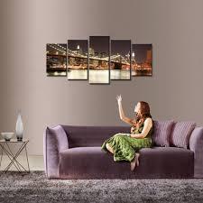 Livingroom Wall Art Amazon Com Wieco Art Modern 5 Piece Stretched And Framed Giclee