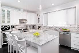 transitional white kitchen has gray diamond backsplash linc