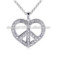 wholesale love necklace images Silver chain necklace wholesale love heart peace sign pendants jpg