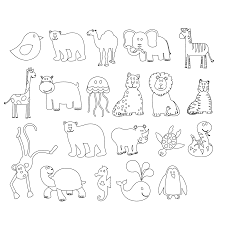 colorful animals black white line art coloring sheet colouring