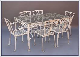 Patio Table 6 Chairs Wrought Iron Patio Table With Glass Top Patios Home Decorating