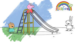 peppa pig ride on slide coloring page for kids fun coloring
