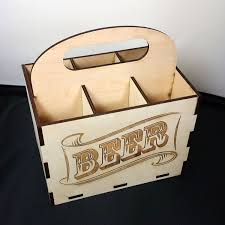 beer case 6 pack laser cut wood by nygaarddesign on etsy https