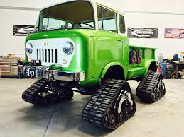 jeep truck lifted jeep fc 170 pickup has tracks hemi v8 and acid green paint