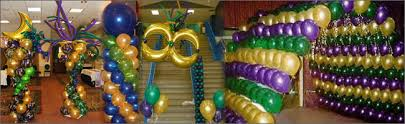 mardi gras balloons and mardi gras themed decorations