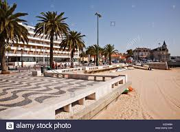hotel baia and pavement design cascais portugal stock photo