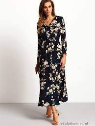 maxi dresses uk lzjnt7 navy sleeve floral maxi dress maxi dresses wishphoto