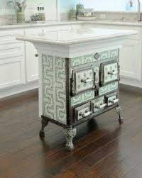 kitchen island antique vintage stove repurposed into kitchen island decor