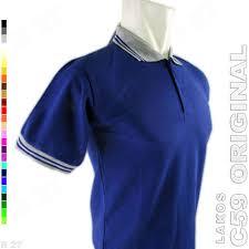 Baju Original c59 original k2 35 baju kaos kerah pria lakos polos biru tua elevenia