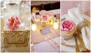gold and blush wedding decorating of party