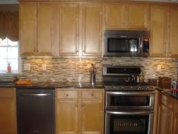 Black Granite Glass Tile Mixed Backsplash by Backsplash Glass Tile Brown With Brown Cabinets Backsplash