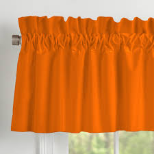 solid orange window valance rod pocket carousel designs