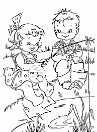 fun summer and fishing coloring page for kids seasons coloring