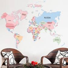World Map Wall Decal Colorful World Map Travel English Letters Wall Decal Home Sticker