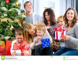 happy big family with presents at hom stock image