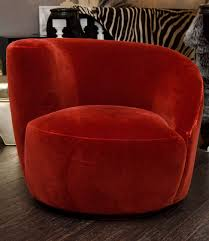 Swivel Club Chair Upholstered Pair Of 1970 U0027s Vladamir Kagen Swivel Chairs Upholstered In Burnt