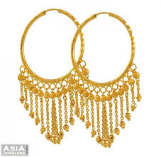 hoops earrings india 22k gold hanging hoops ajer52865 22k yellow gold indian style