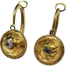 18k gold earrings renaissance gold earrings 16th century circa 1600 table cut