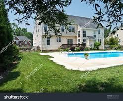 modern luxurious american home backyard lush stock photo 36127522
