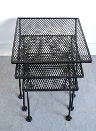 Mesh Wrought Iron Patio Furniture by Salterini Mid Century Modern Wrought Iron Patio Nesting Tables For