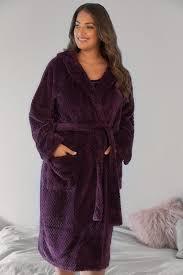 robes de chambre grandes tailles robe de chambre polaire texturée violette avec capuche et poches