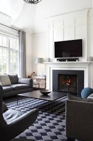 black white living room and transitional style ideas with high
