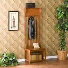 Entry Hall Furniture by Southern Enterprises Mission Oak Hall Tree Entry Bench Hayneedle