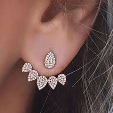 jacket earrings buy happy rhinestone ear jacket sided swing stud earrings