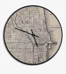 Vintage Chicago Map by Vintage City Map Clock Home Decor U0026 Lighting Cardboard Safari