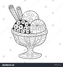 antistress doodle coloring page ice cream stock vector 692496661