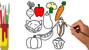 fruits and vegetables coloring pages for kids learn colors for