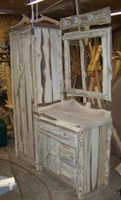 Log Vanity Cedar Vanity With Linen Cabinet Log Vanities And Cabinets Linen