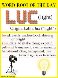 what is the latin root meaning light vocabulary help word root luc light root words lights and