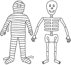 mummy coloring pages skeleton with mummy coloring page halloween