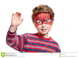 young boy face painting spiderman stock images image 28691924