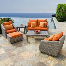 Modern Wicker Furniture by Exterior Pretty Orange Cushions On Modern Wicker Outdoor