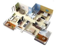 Three Bedroom House Design Pictures Fascinating 3d Three Bedroom House Plan And Building Plans