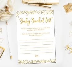 gold baby shower games baby bucket list baby shower