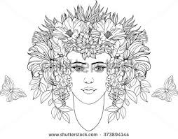 face chaplet flowers leaves hand stock vector 626871131