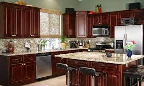 Color Theme Idea For Kitchen Dark Cherry Wood Cabinets With A - Cherry cabinet kitchen designs
