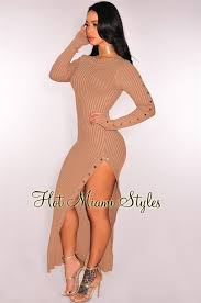 miami hot styles ribbed knit button up maxi dress