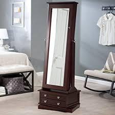 brown jewelry armoire amazon com belham living swivel cheval jewelry armoire cherry