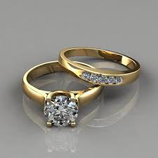 yellow gold bridal sets cross prong engagement ring and wedding band bridal set